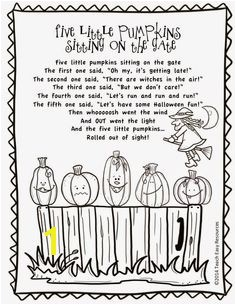 FREE Five Little Pumpkins Sitting on the Gate Poem and Colouring Sheet