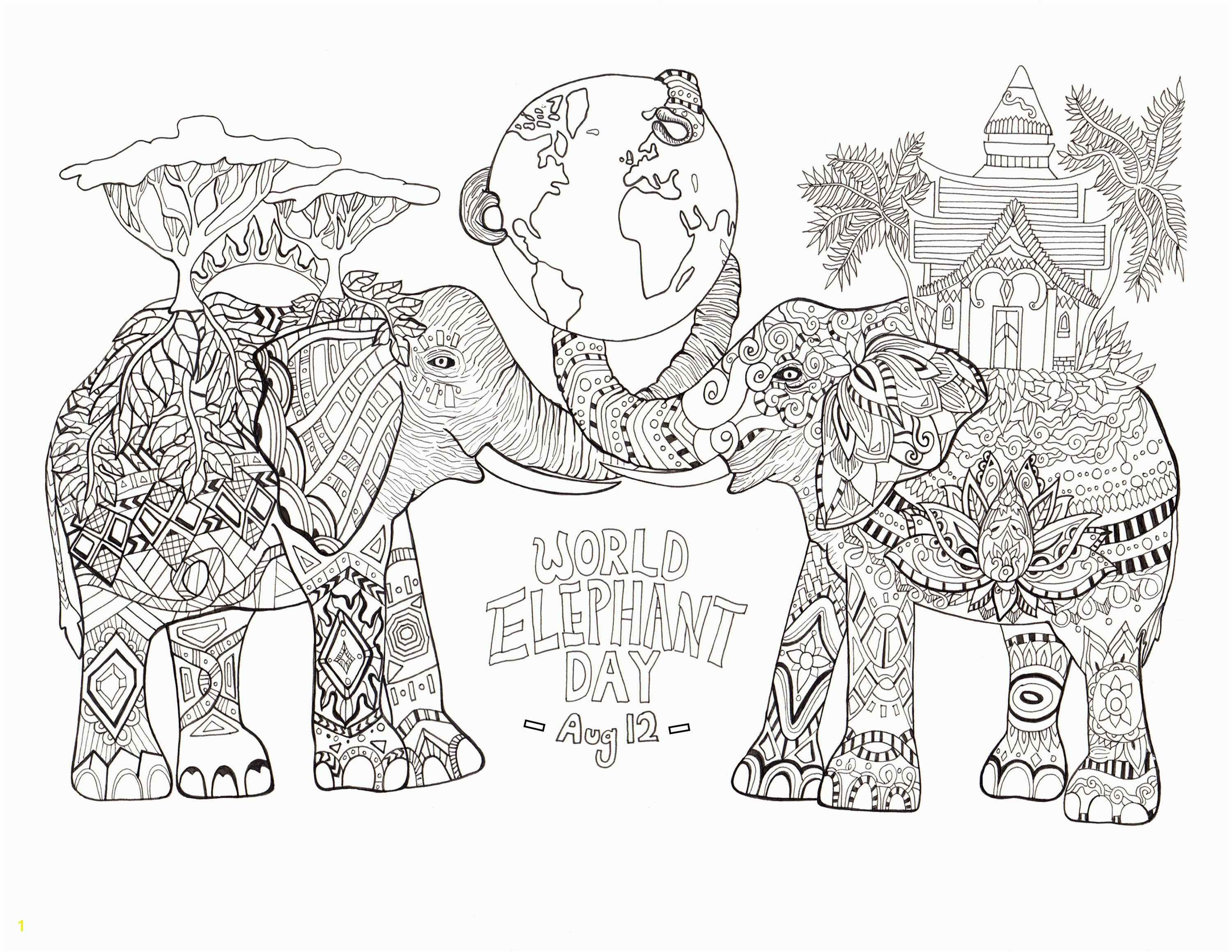 World elephant day Elephants Adult Coloring Pages