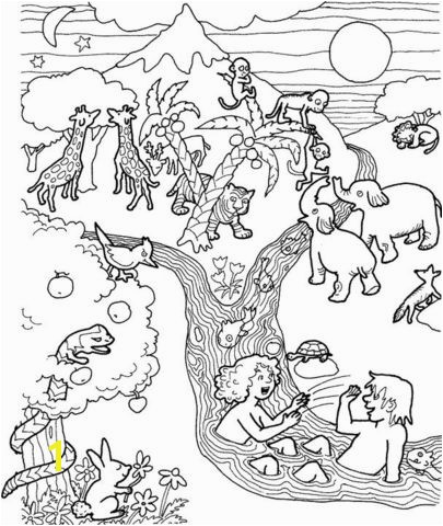 Adam and Eve in the garden of Eden coloring page from Adam and Eve category Select from printable crafts of cartoons nature animals Bible and many