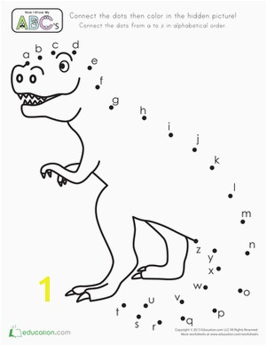 Preschool The Alphabet Dot to Dots Dinosaurs Worksheets Connect the Dots Alphabet