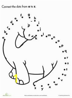 Worksheets Alphabet Dot to Dot Dinosaur
