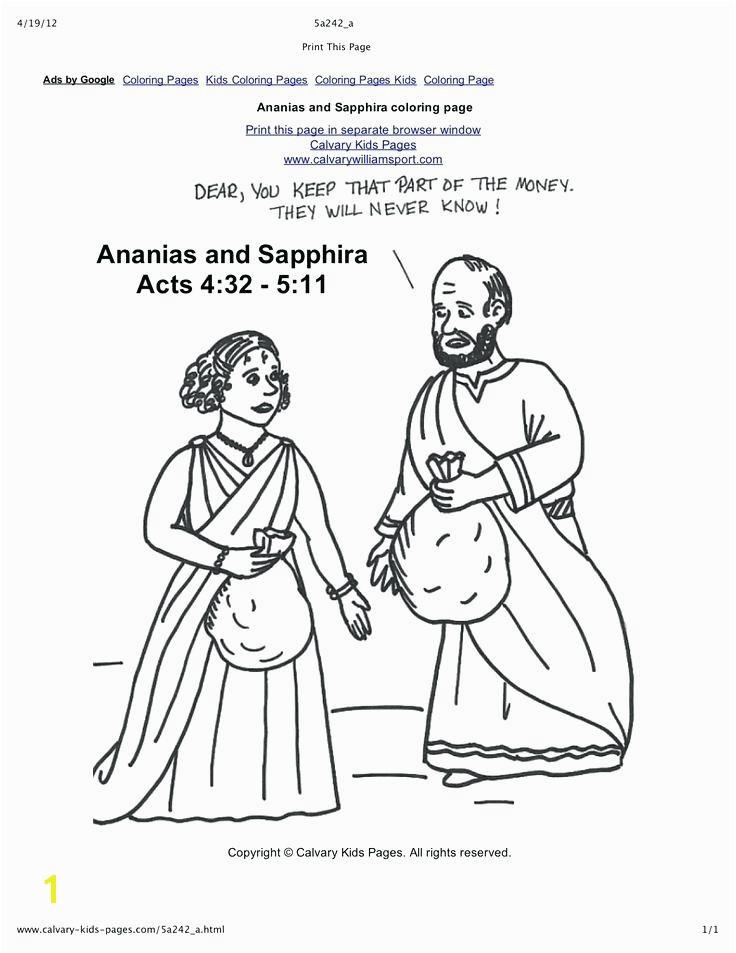Ananias and Sapphira Coloring Page Elegant Collection Various Ananias and Sapphir