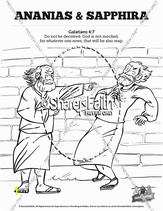 Glamorous Collection Ananias And Sapphira Coloring Acts 5 Ananias And Sapphira Sunday School Coloring Pages