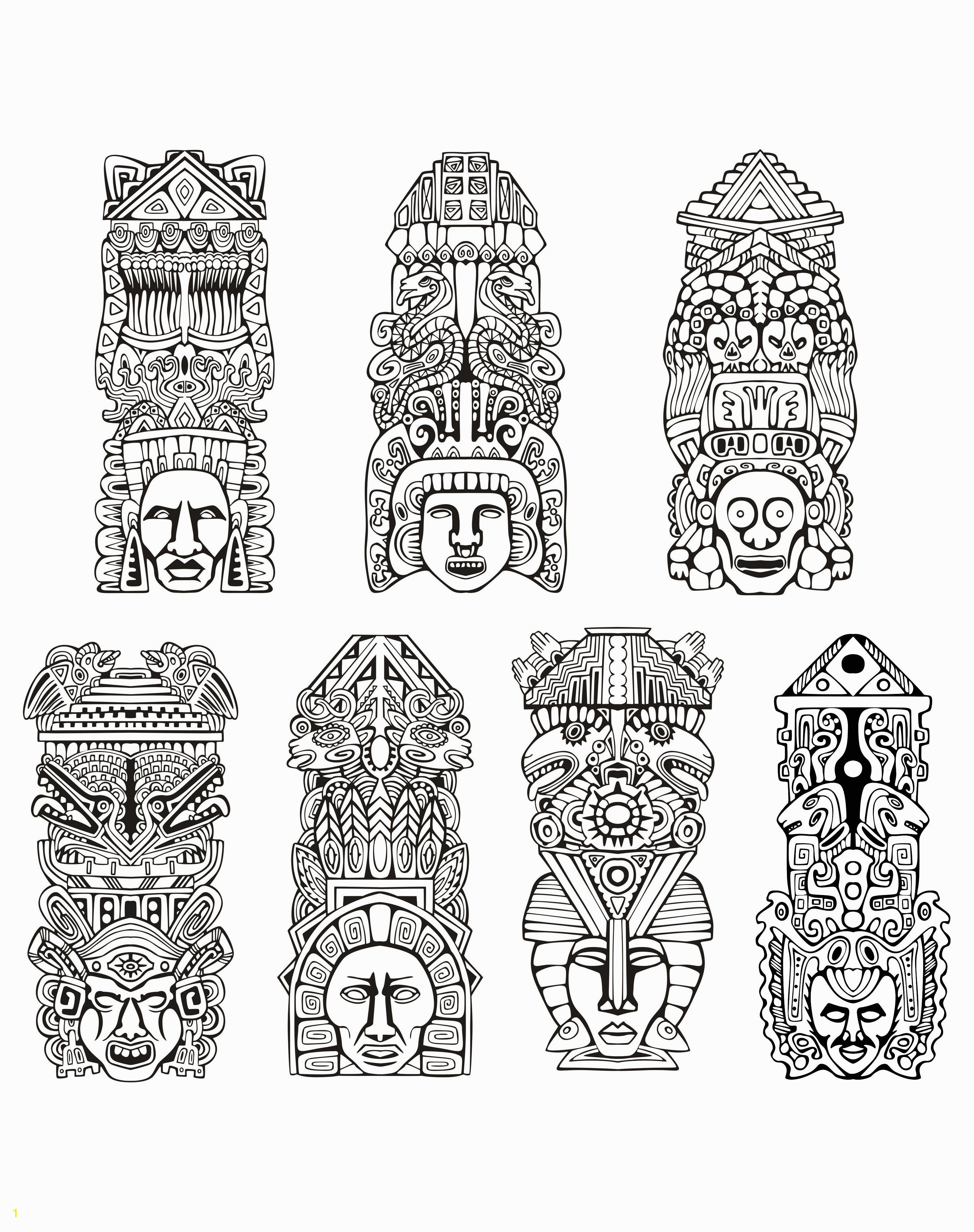 Free coloring page coloring adult totems inspiration inca mayan aztec Totems inspired by Aztecs Mayans and Incas Source rocich 123RF