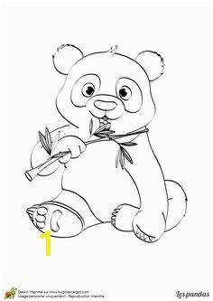 Coloriage d un mignon petit panda qui mange du bambou