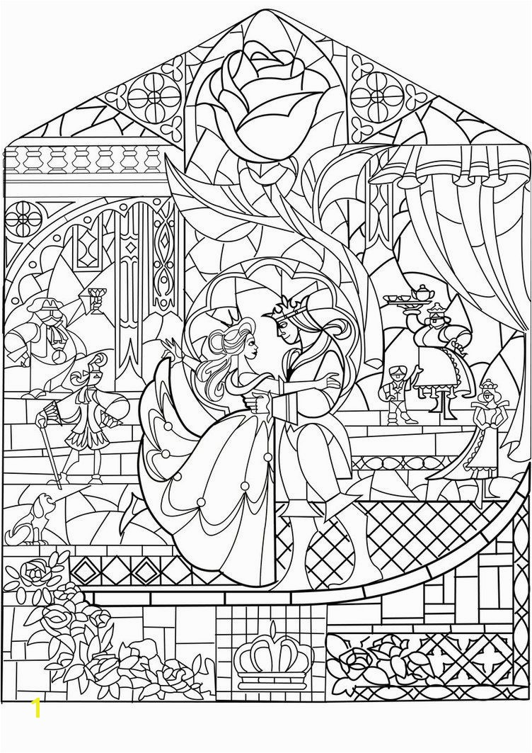 Beauty and the Beast Stained Glass Window Coloring Page Beauty and the Beast Glass by Labellerose On Deviantart