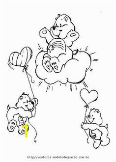 A lovely Care Bear coloring sheet with wish Bear sitting on a cloud Make your own Care Bears coloring book and print this Care Bear coloring sheet