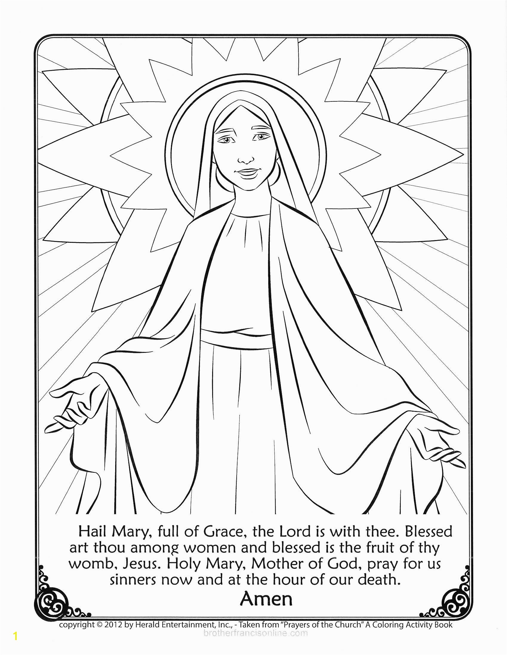 hail mary coloring sheet mary coloring page with the hail mary prayer printed below color and pray