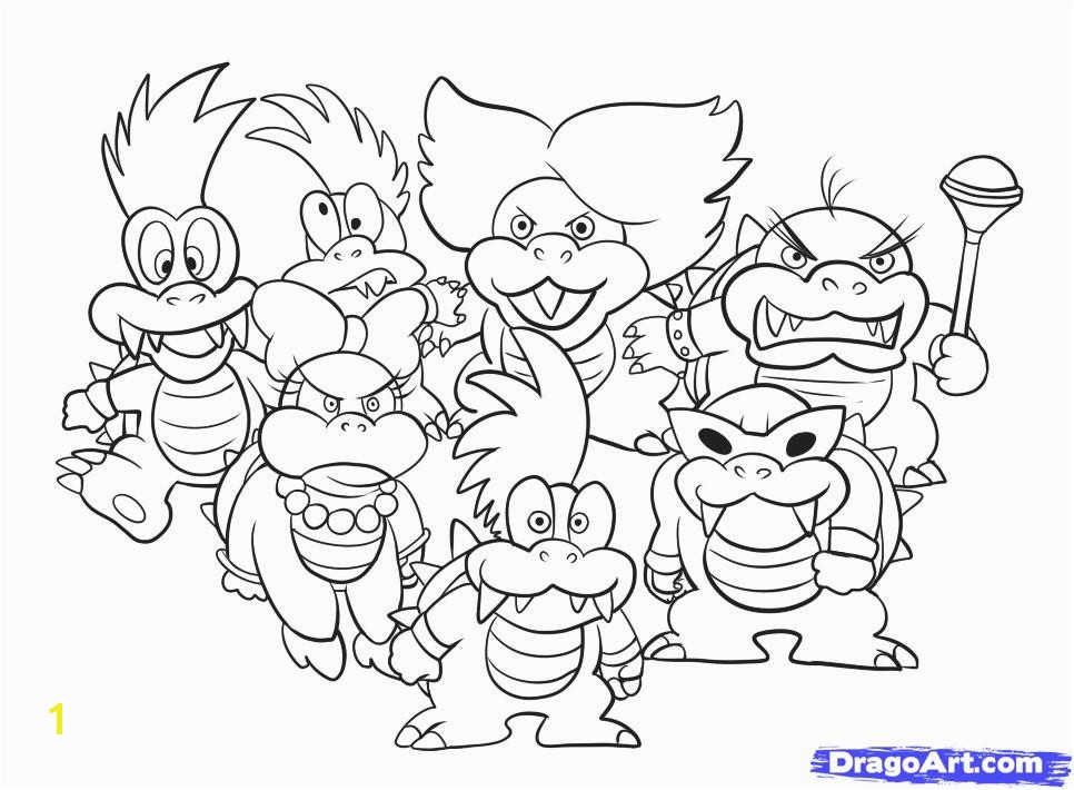 966x710 Awesome Bowser Jr Coloring Pages 19 Line Drawings with Bowser