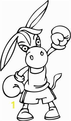 Democrat Donkey Wearing Boxing Gloves coloring page