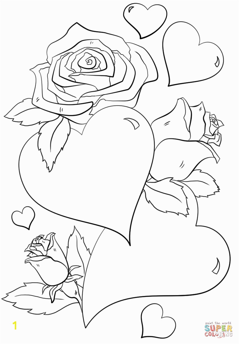 Hearts And Roses Coloring Page In With Flames Pages