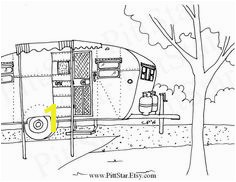 Instant Download Vintage Boles Aero Travel Trailer Printable Coloring Page