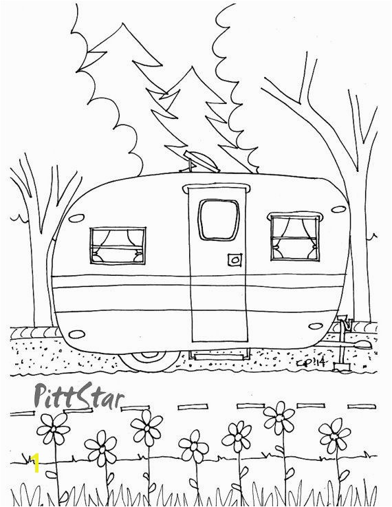 Camper Trailer Coloring Pages Instant Download Vintage Travel Trailer Printable Coloring Page