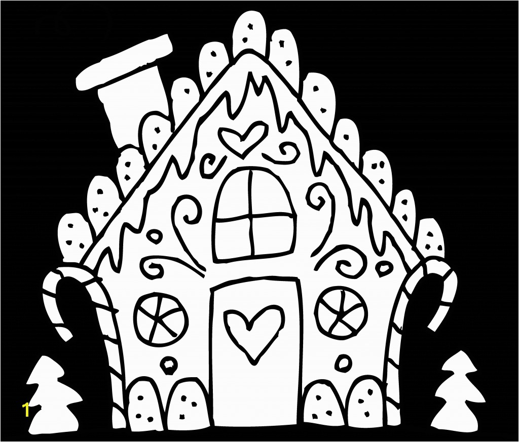 Gingerbread House Coloring Pages delegreat graphic black and white