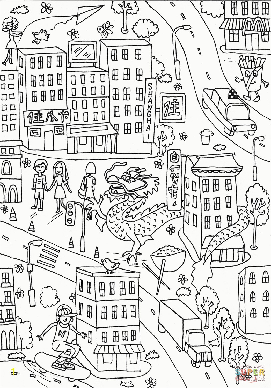 Shrewd Central Park Coloring Pages Chinatown Page Free Printable