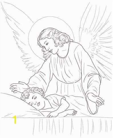 Child Sleeping Coloring Page to See Printable Version Of Guardian Angel Over Sleeping Child