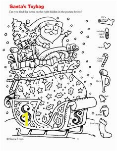 Hidden Santa Picture Coloring Page Printout More fun holiday activities at s