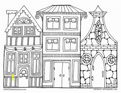 Town Coloring Page Christmas Village Art To Color