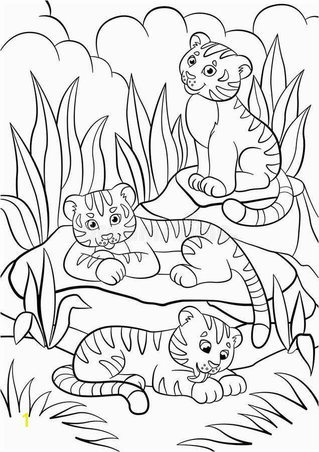 Coloring Book Pages Babies Best Coloring Pages Wild Animals Three Little Cute Baby Tigers