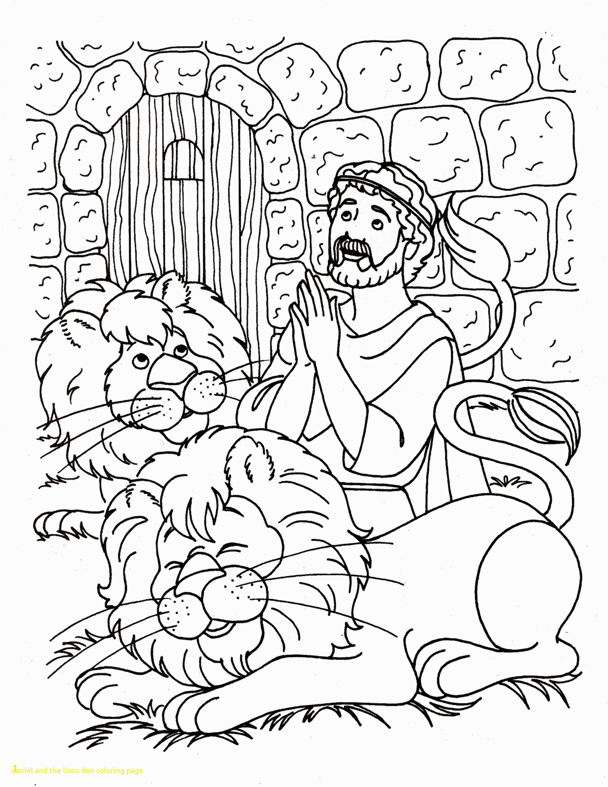 Daniel And The Lions Den Coloring Page With In Lion S