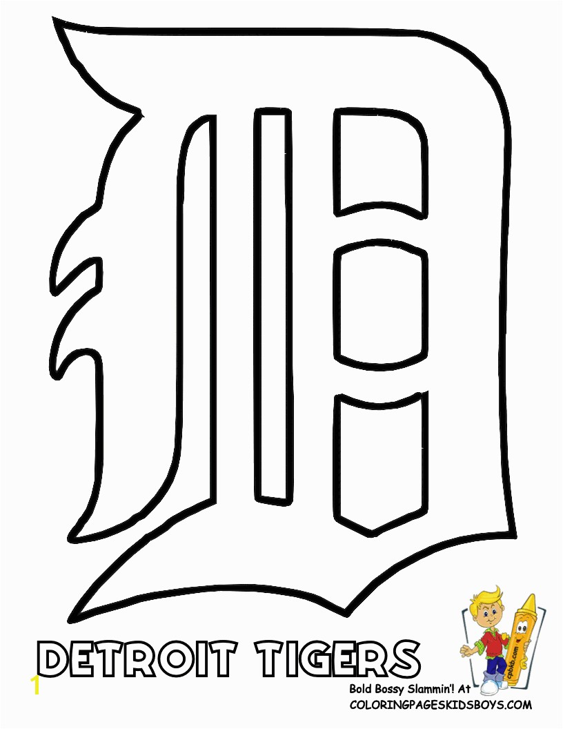 Coloring Pages Baseball Team Logos Detroit Tigers Logo Stencil Baseball Coloring Sheet