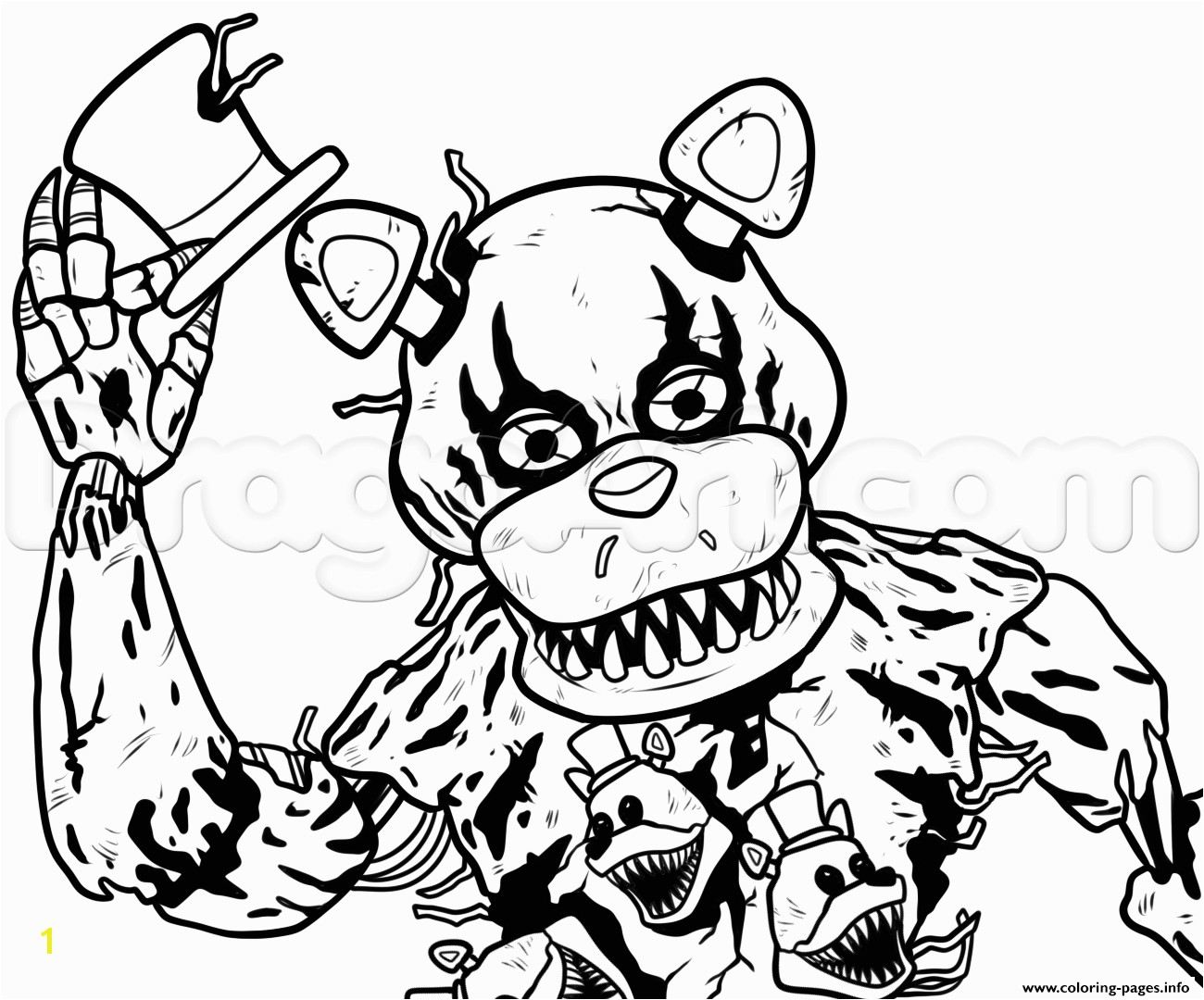 Reliable Freddy Fazbear Coloring Page Print Draw Nightmare Five Nights At Freddys Fnaf