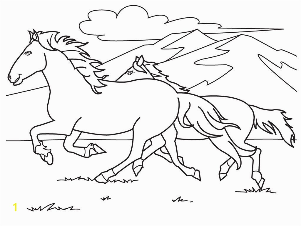 Running White Horse Coloring Pages