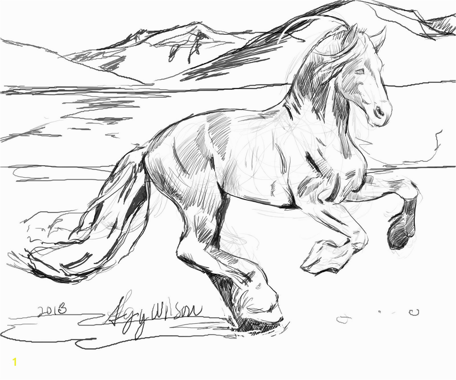 Top Page Horses Head Coloring Two Running Coloring Pages