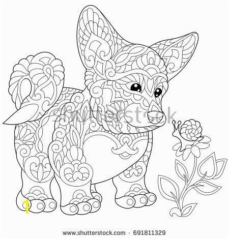 Coloring page of cardigan welsh corgi puppy dog symbol of 2018 Chinese New Year Freehand sketch drawing for adult antistress colouring book with …