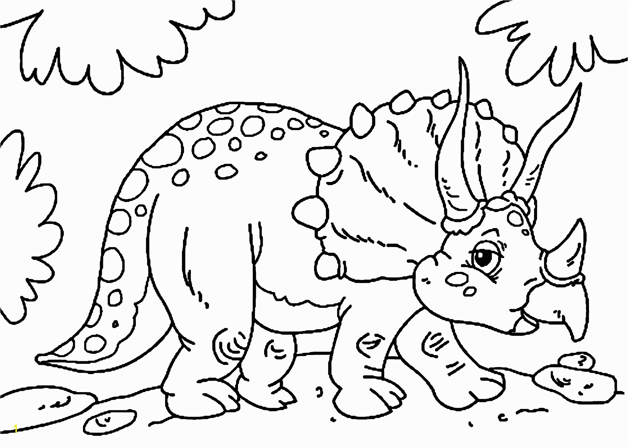 Cute little triceratops dinosaur coloring pages for kids printable free