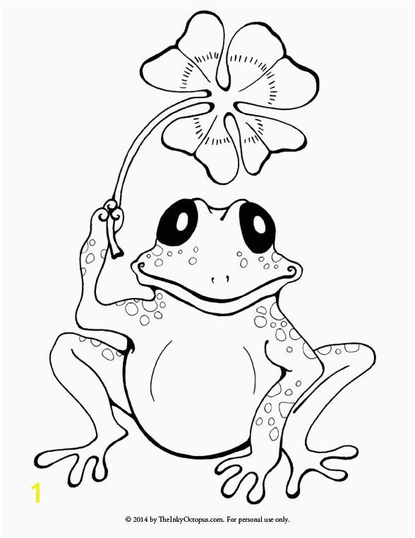Frogs Coloring Pages Elegant Printable Frog & Clover Coloring Page the Inky Octopus