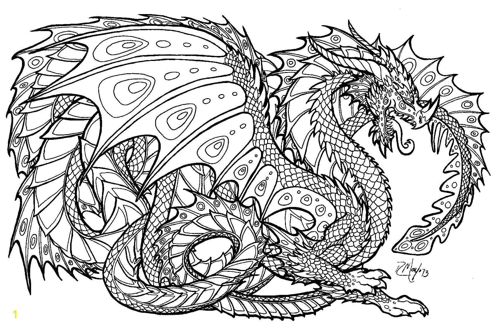 Coloring Pages Of Real Dragons Realistic Dragon Coloring Pages for Adults