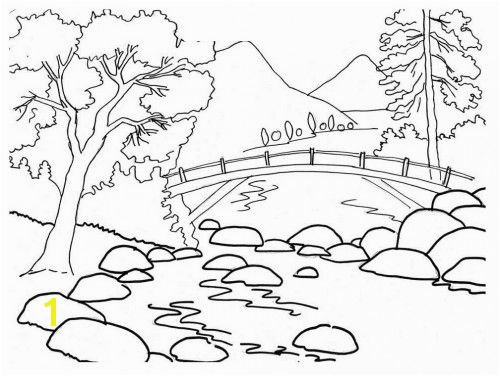 Beautiful River Bank Landscape Coloring Pages