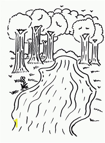 FUN printable coloring page river with trees