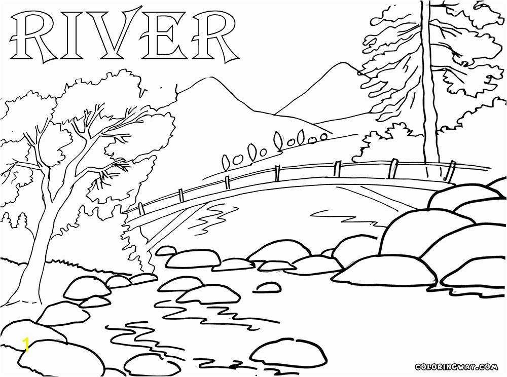 river and bridge coloring sheet