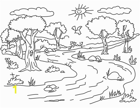 Coloring Pages Of Rivers River Landscape Coloring Page