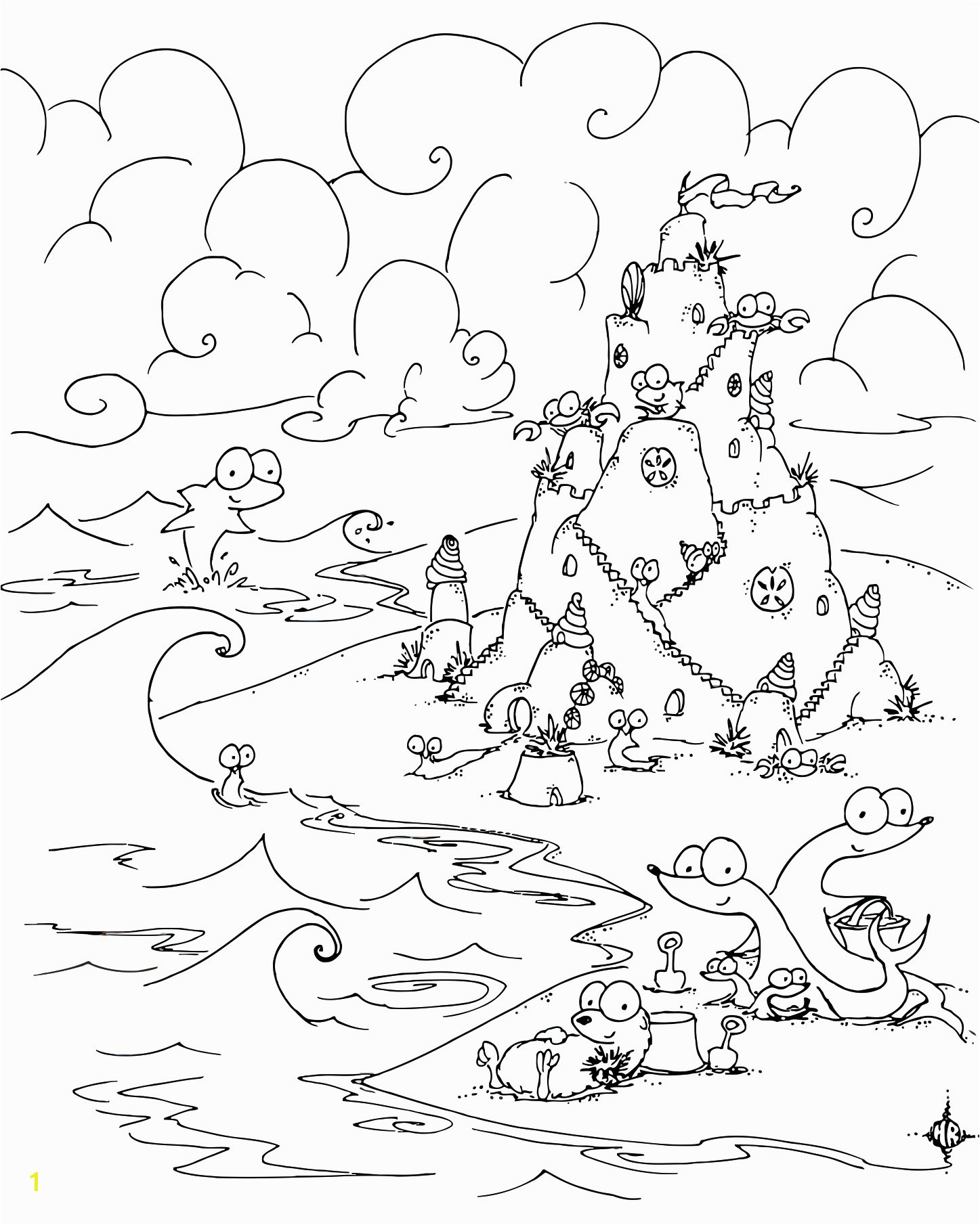 Coloring Page Sea Creatures Building A Sand Castle the Beach