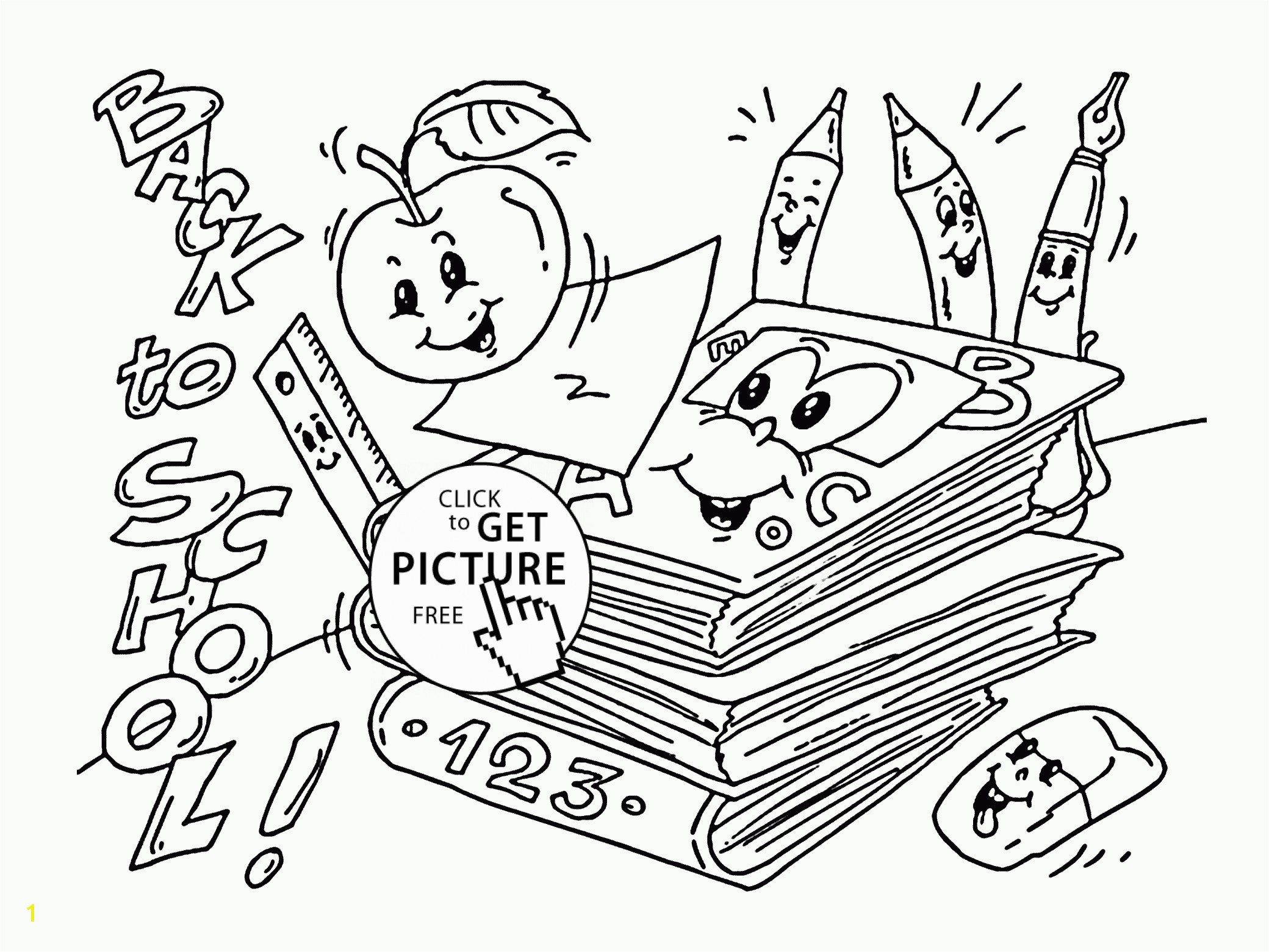 New school supplies coloring sheet Free 3j Full Size of Coloring Book And Pages Free