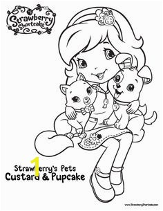 Color Strawberry Shortcake s pets Pupcake and Custard with this berry furry friends printable activity sheet