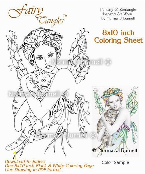 Cat s Cradle Fairy Tangles Coloring Sheet Fairies Cats Digi Coloring Page by Norma J Burnell 8x10 Coloring Sheet