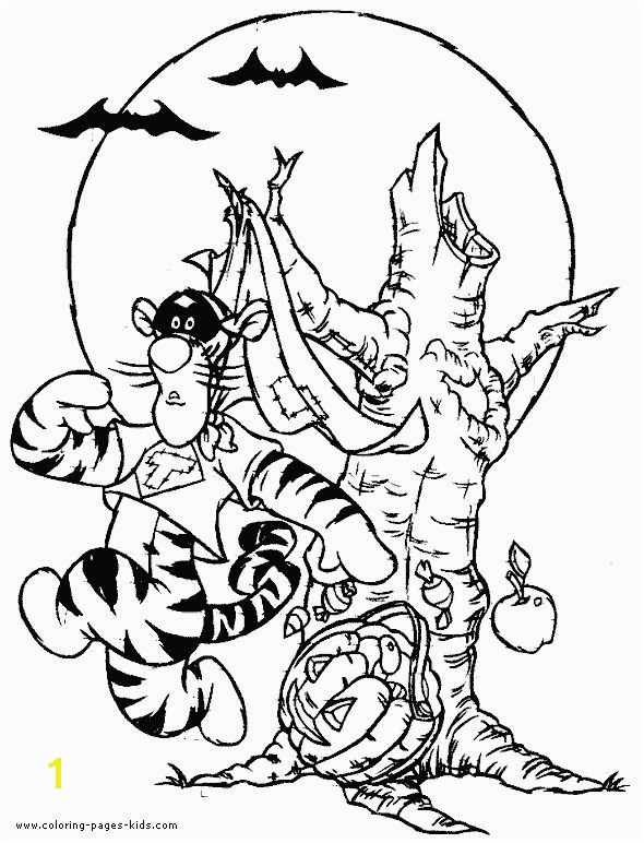 Winnie the Pooh Halloween tigger coloring page