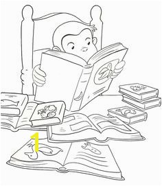 Curious George at the library printable coloring book page for kids Curious George Coloring Book Pages Pinterest