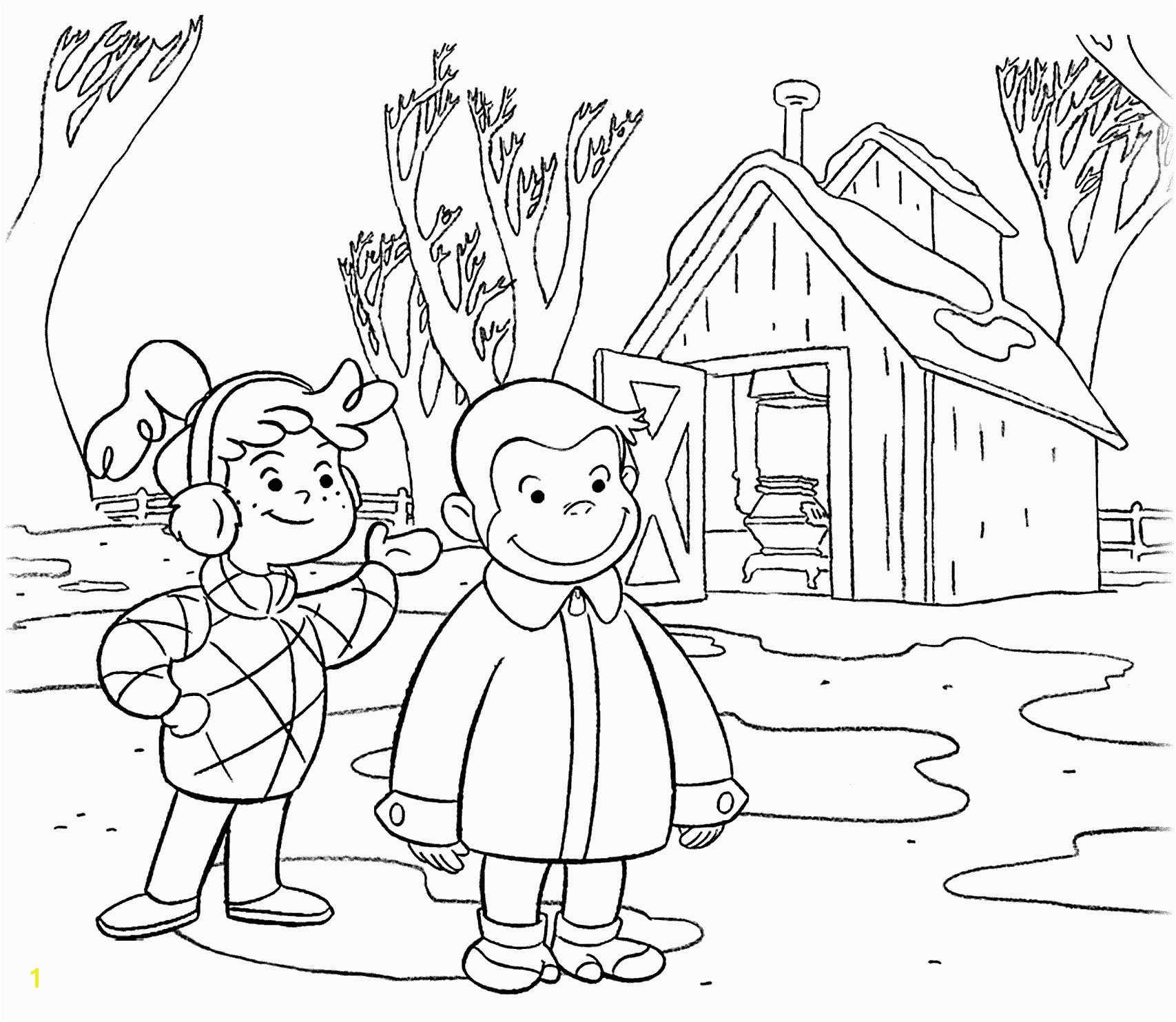 Curious George Halloween Coloring Pages