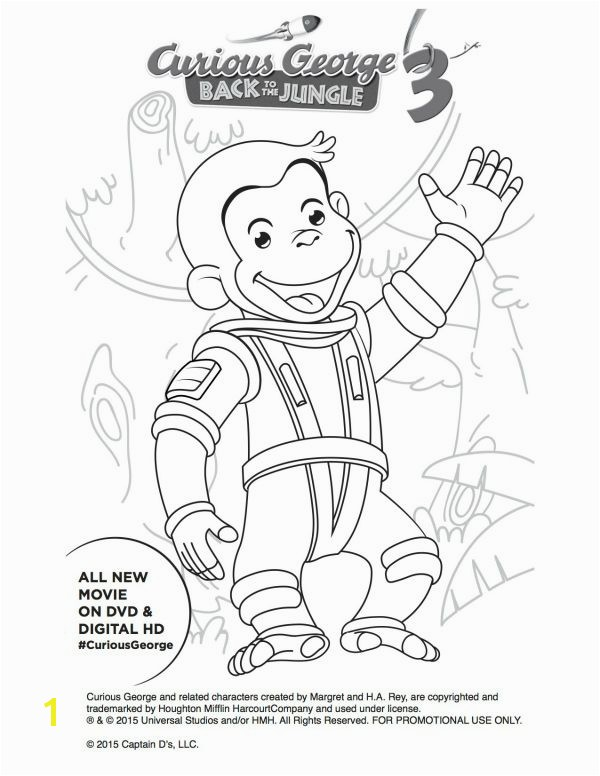 Free Astronaut Curious George Printable Coloring Page