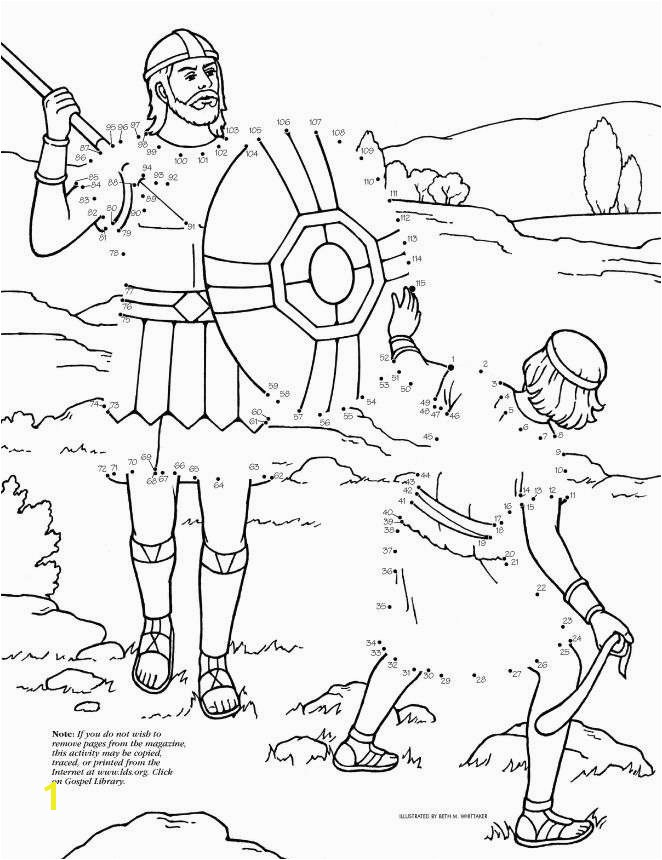 David and Goliath Dot to Dot LDS The Friend Magazine Coloring Page