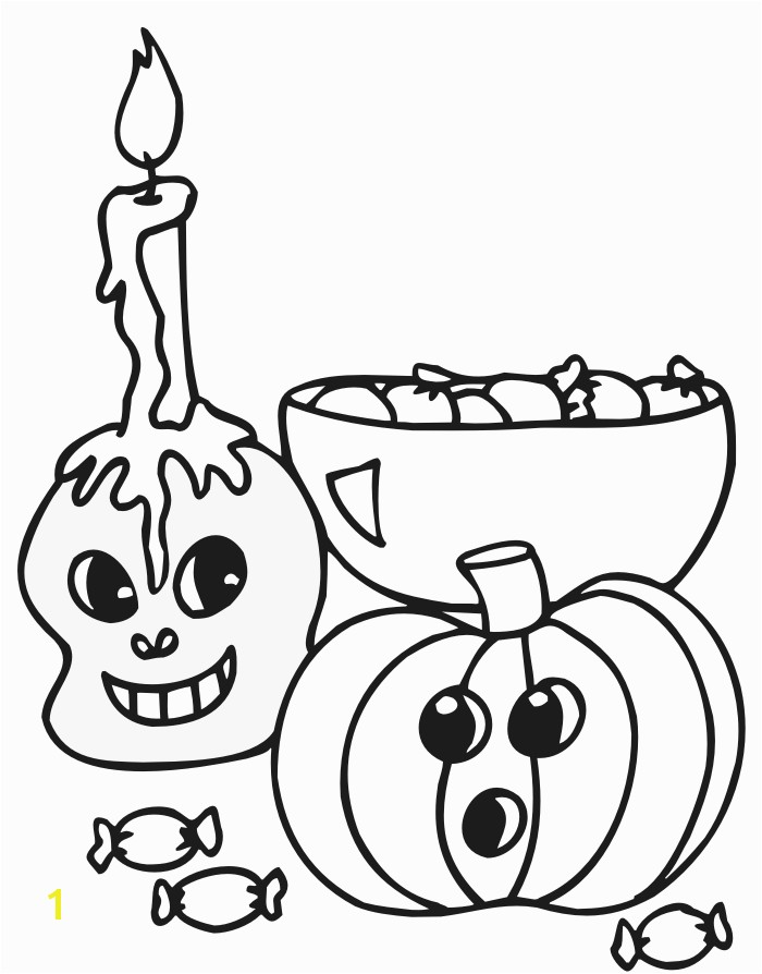 halloween coloring page of a skull pumpkin and candy