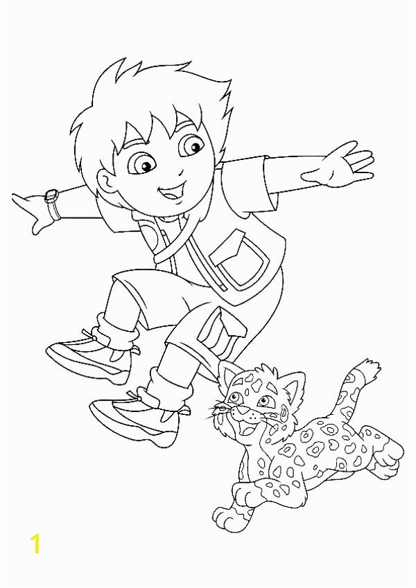Diego and His Adorable Pet Baby Jaguar In Go Diego Go Coloring Page Dora Diego Coloring