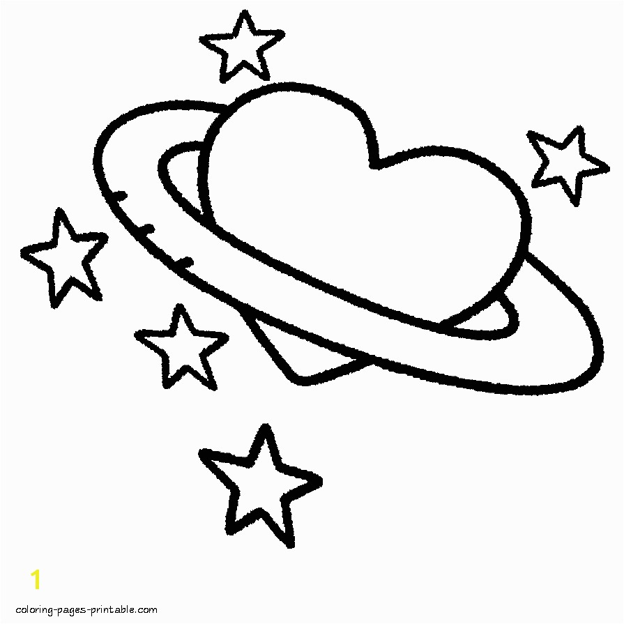 Three hearts A Heart shaped planet coloring page