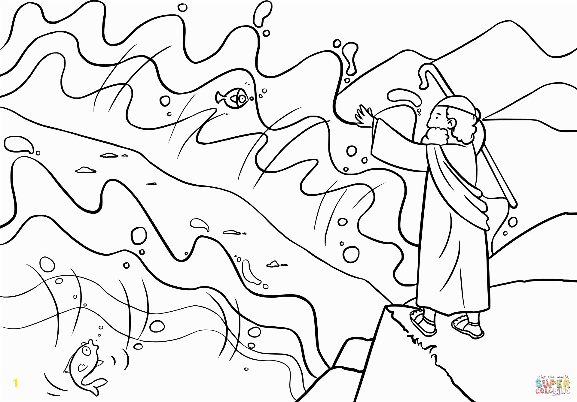 moses parts the red sea coloring sheet focus moses and the red sea coloring page parts free printable pages
