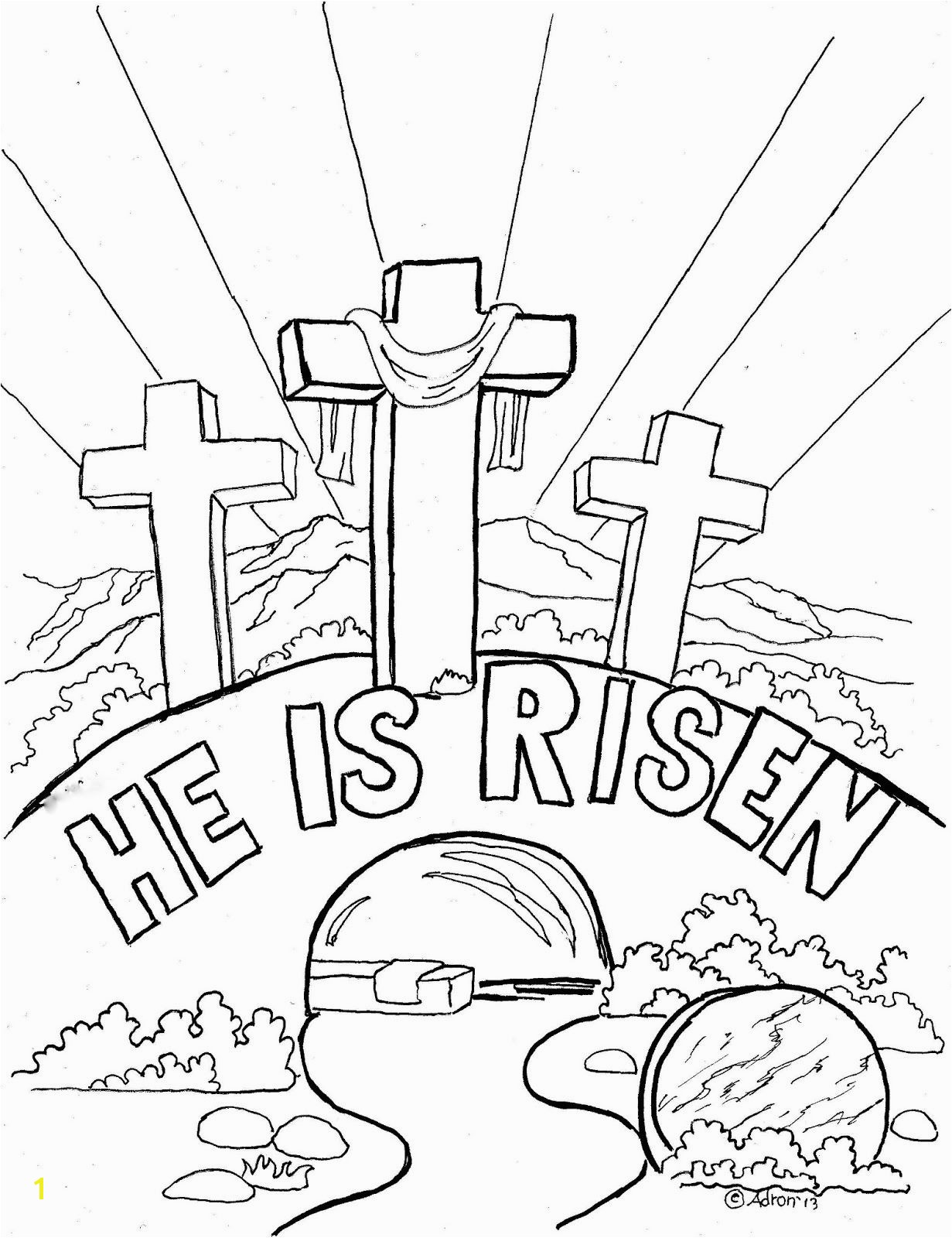 "Coloring Pages for Kids by Mr Adron Easter Coloring Page For Kids ""He is Risen"""